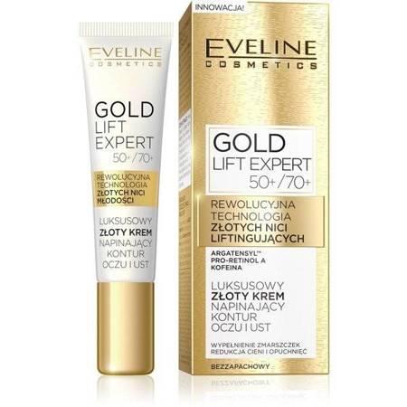 Eveline Gold Lift Expert 50/70+ Luksusowy złoty krem napinający kontur oczu/ust 15ml